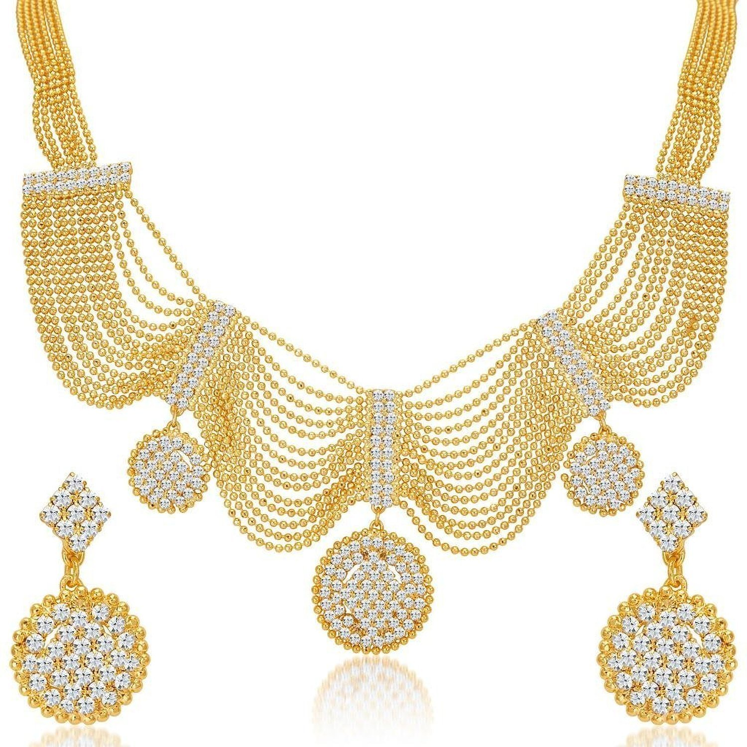 Rare Styles Fancy American Diamond Fashion Jewelry Necklace and Earring Set