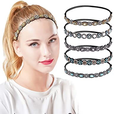 Artideco 5 Stück Vintage Elastisches Haarband Damen Blinkend Strass