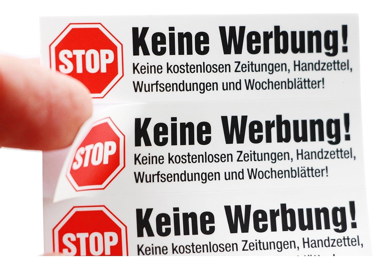 10x Stop Reklame, Keine Werbung Aufkleber, auf weiß er Folie, matt, einzeln abziehbar - Keine kostenlosen Zeitungen, Handzettel, Wurfsendungen und Wochenblä tter! immi.de®