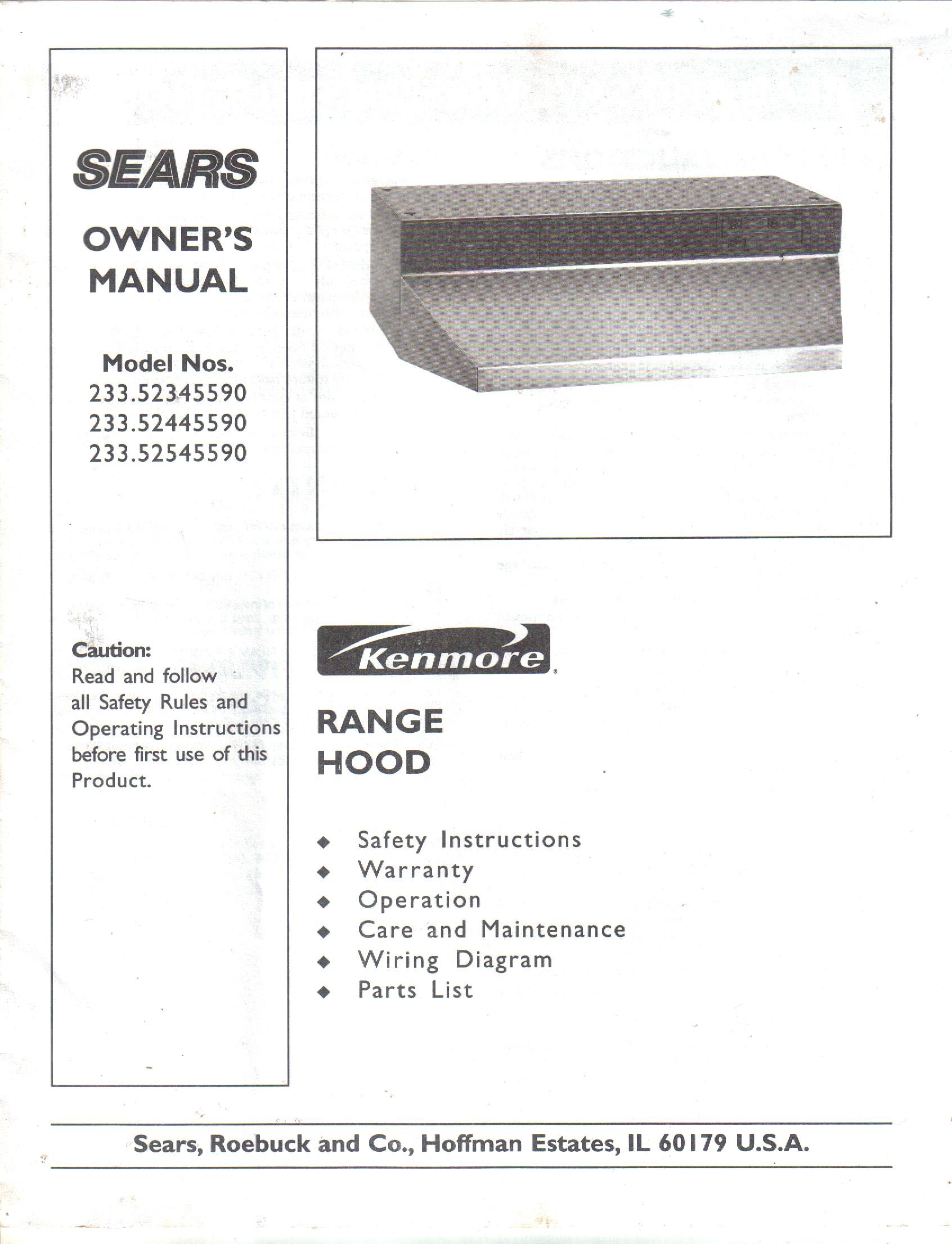 Sears Kenmore Range Hood Owners Manual Use Care Guide Model First Co Wiring Diagrams 23352345590 23352445590 23352545590 Not Stated