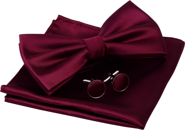 GUSLESON Herren Set Fliege und Einstecktuch Manschettenkn/öpfe doppelt gefaltet mit Geschenkbox einfarbig