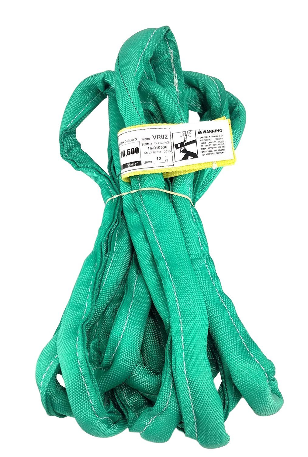 USA Made VR2 X 12' Green Slings 4'-30' Lengths In Listing, DOUBLE PLY COVER Endless Round Poly Lifting Slings, 5,300 lbs Vertical, 4,240 lbs Choker, 10,600 lbs Basket (USA Poly) (12 FT)