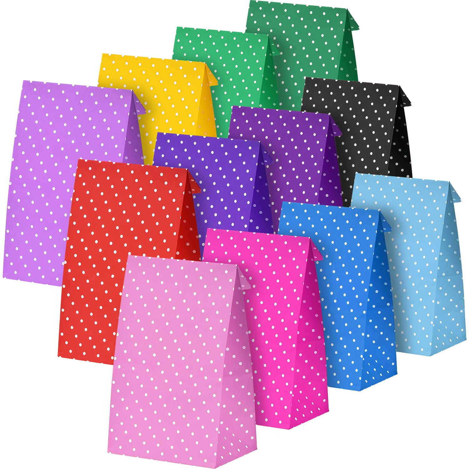 BBTO 24 Pieces Dot Paper Bags Party Gift Grocery Bag Lunch Flat Bottom Craft Paper Bags, Multicolor