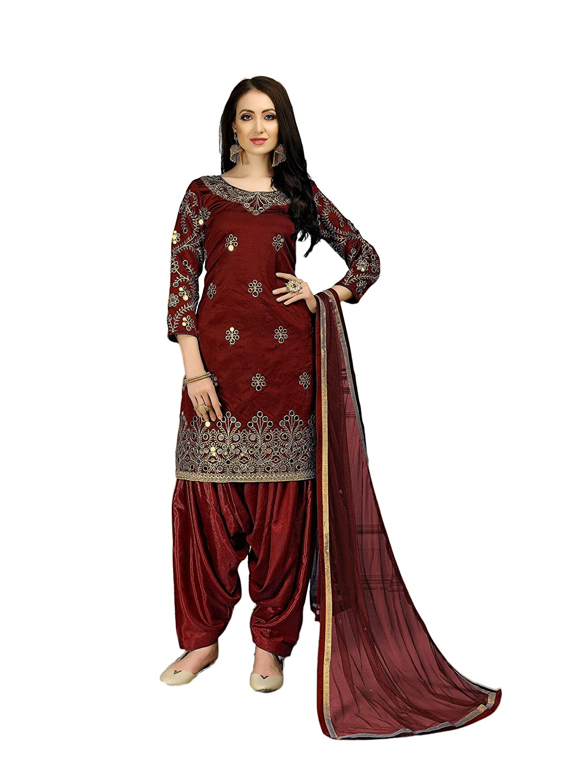 f5ed69625bb Amazon.com  Bollywood Ethnic Women s Party Wear Anarkali Salwar Kameez Un- Stitched A1475 Maroon  Clothing