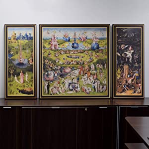 "ARTCANVAS The Garden of Earthly Delights 1515 Canvas Art Print by Hieronymus Bosch with Printed Gold Frame - 76"" x 40"" (1.50"" Deep)"