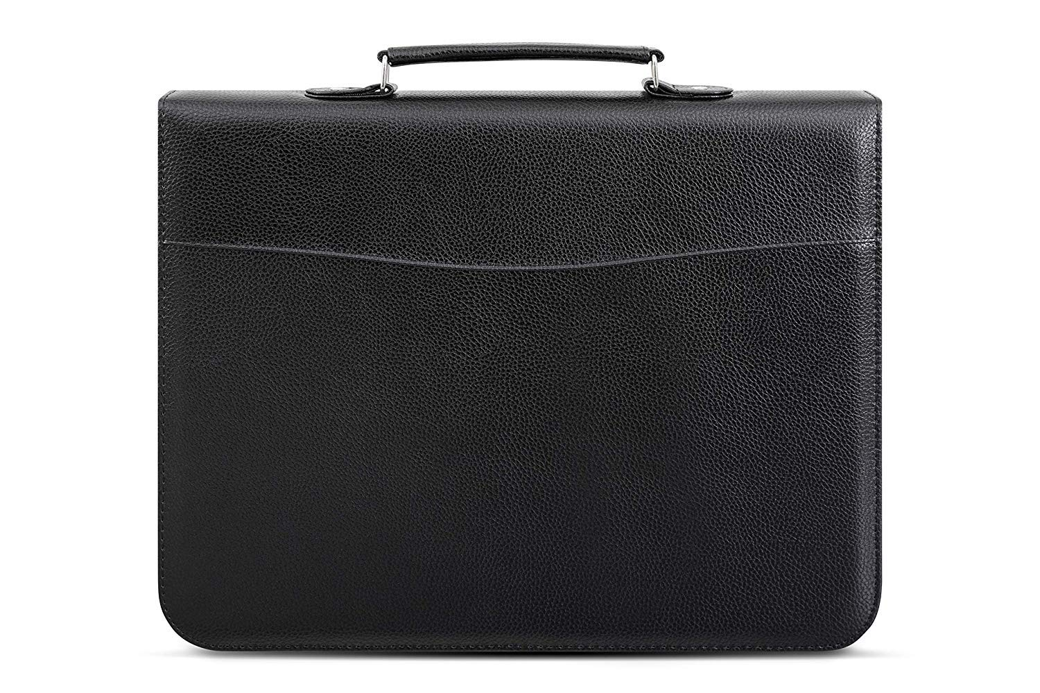 A4 Conference Folder with Handle with Zipper Soft Padded Cover Black