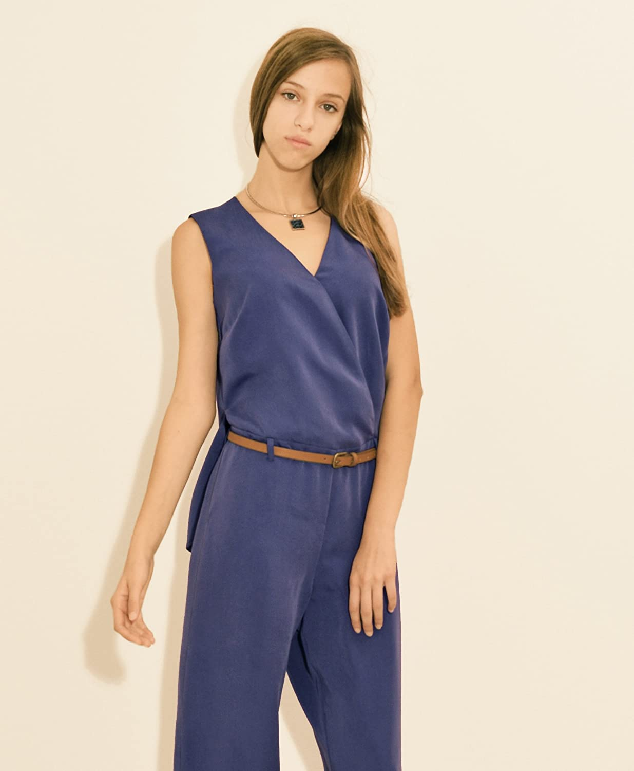 Stylati Womens Jumpsuit with Cape Effect Blue