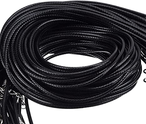 Cordón hilo encerado negro trenzado 44 cm con cadena extensión 2 mm brillante