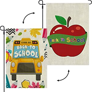 Back to School Garden Flag Double Sided Prints Welcome Flag First Day of School Teacher Appreciation School Supplies Outdoor Yard Lawn Banner Colorful Decoration 12.5 x 18 Inch