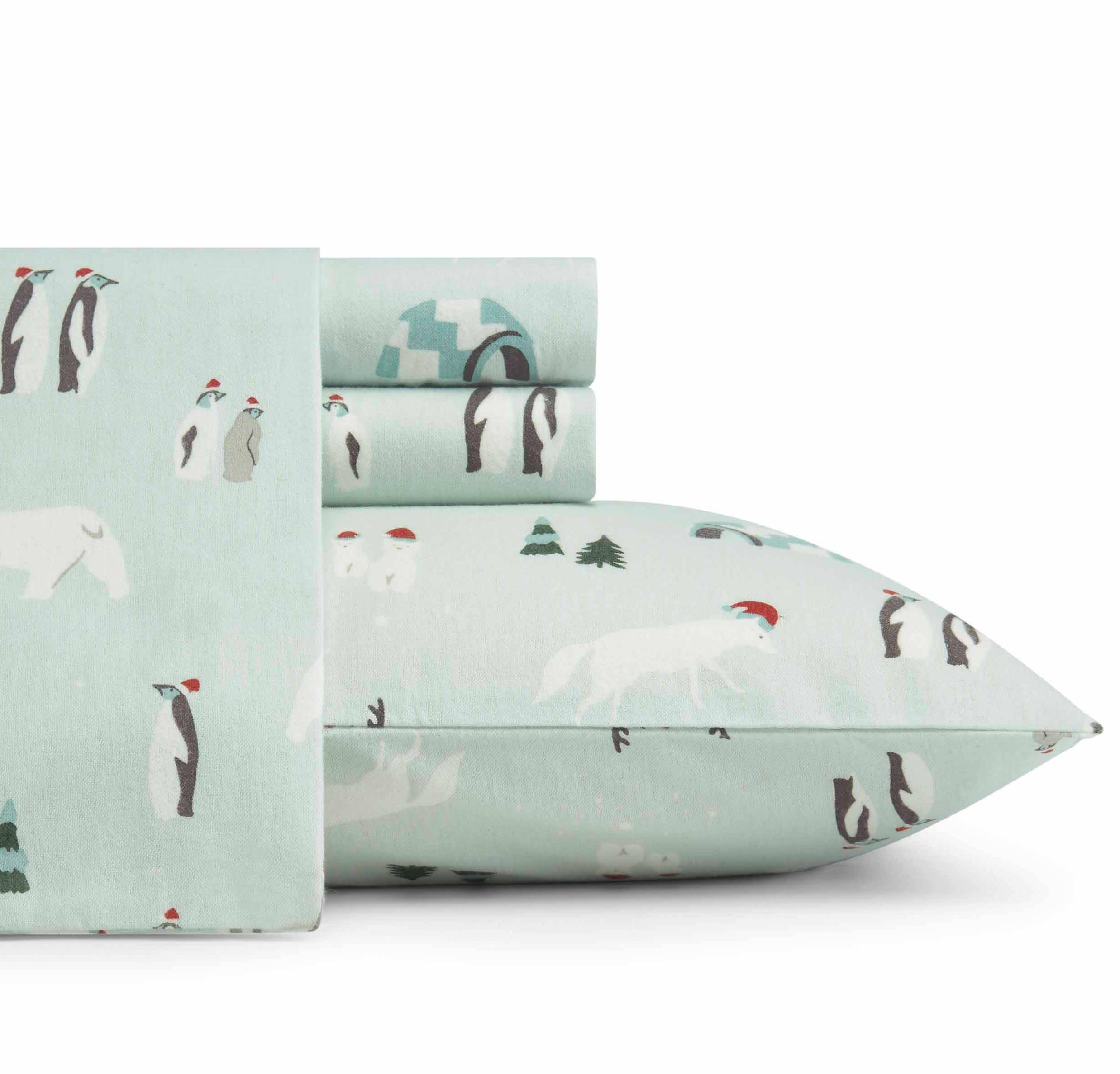 D&A 4 Piece Aqua Blue Snow Animals Theme Sheets Set Full Sized, Beautiful Penguins, Fox, White Bears, Alpine Tree, Igloo Print, Elasticized Fitted, Deep Pocket, Cotton Flannel