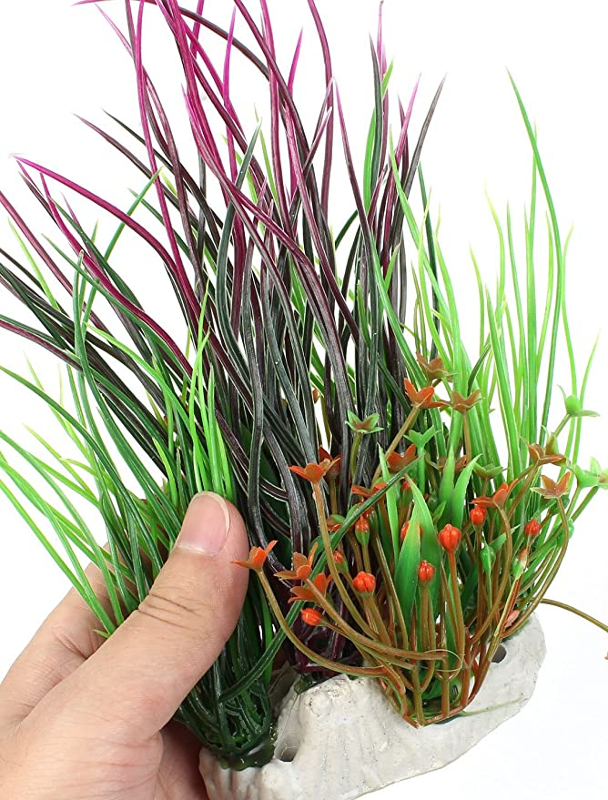 Amazon.com : eDealMax Acuario de plástico Flor hierba acuática Detalle DE 8 pulgadas de alta Verde Fucsia : Pet Supplies