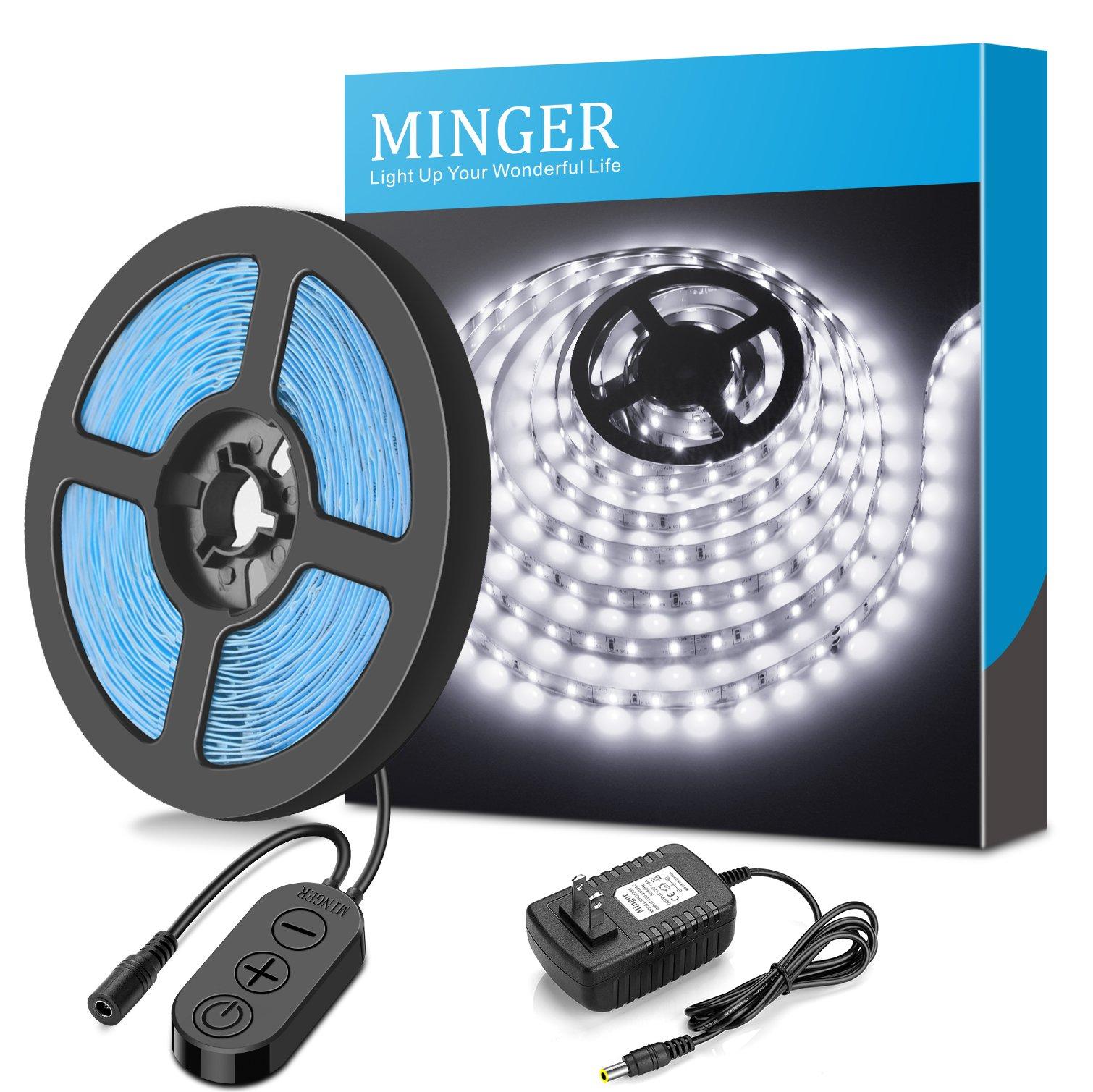 MINGER Dimmable LED Light Strip Kit, LED Tape Light, 6000K Daylight White, 300 SMD 2835 LEDs, 16.4FT/5M Non-Waterproof LED Ribbon, Under Cabinet Lighting Strips for Home, DC 12V UL Listed