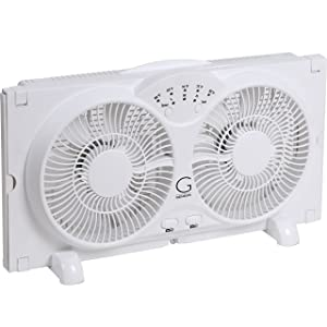 Avalon Twin Window Fan with 9 Inch Blades, High Velocity Reversible AirFlow Fan, LED Indicator Lights Adjustable Thermostat & Max Cool Technology, ETL Certified