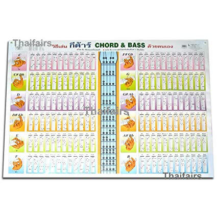 Amazon.com: GUITAR CHORDS & BASS POSTER PLAYING FRETBOARD CHORD ...