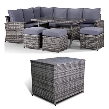 Remarkable Club Rattan Harmony Corner Sofa With Dining Table Storage Box Deal In Grey Cjindustries Chair Design For Home Cjindustriesco