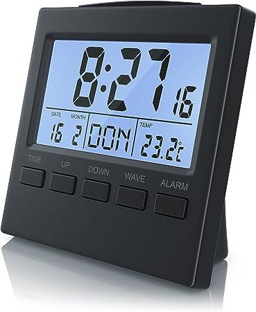 Bearware Réveil numérique avec Affichage de la température Réveil Radio DCF réveil de Voyage Écran LCD 3,3coutumes avec rétroéclairage LED Bleu