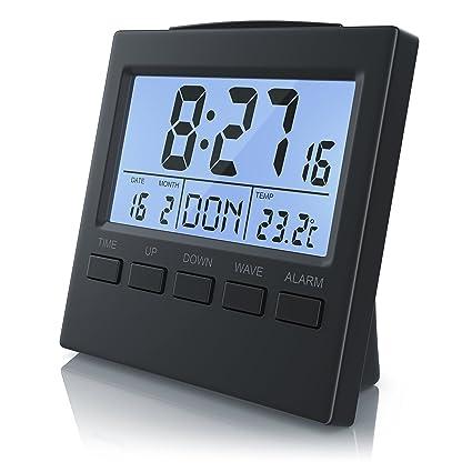 Bearware - Reloj Despertador Digital con indicación de la Temperatura | Reloj Despertador Alarma de Viaje