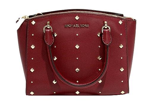 MICHAEL Michael Kors Women s ELLIS Small Satchel Studded Leather handbag  (Cherry) 7f5685410ccbf