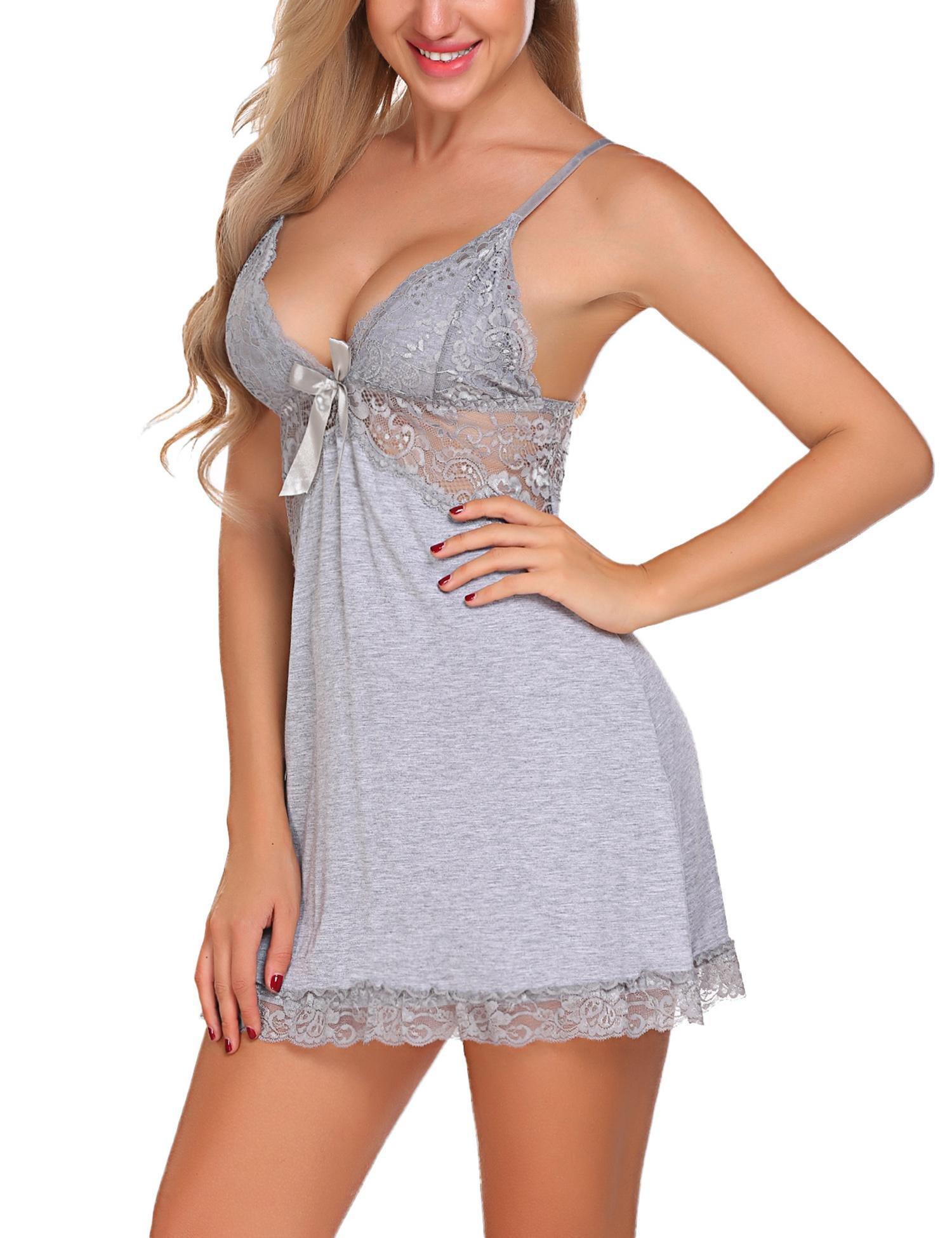 Avidlove Women Sexy Lingerie Slip V-Neck Chemise Nightgown Lace Babydoll Gray Small by Avidlove (Image #5)