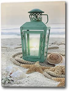 BANBERRY DESIGNS Beach Decor - LED Print with a Teal Lantern Sitting on The Beach - Seaside Setting with Shells and Starfish - Ocean Prints