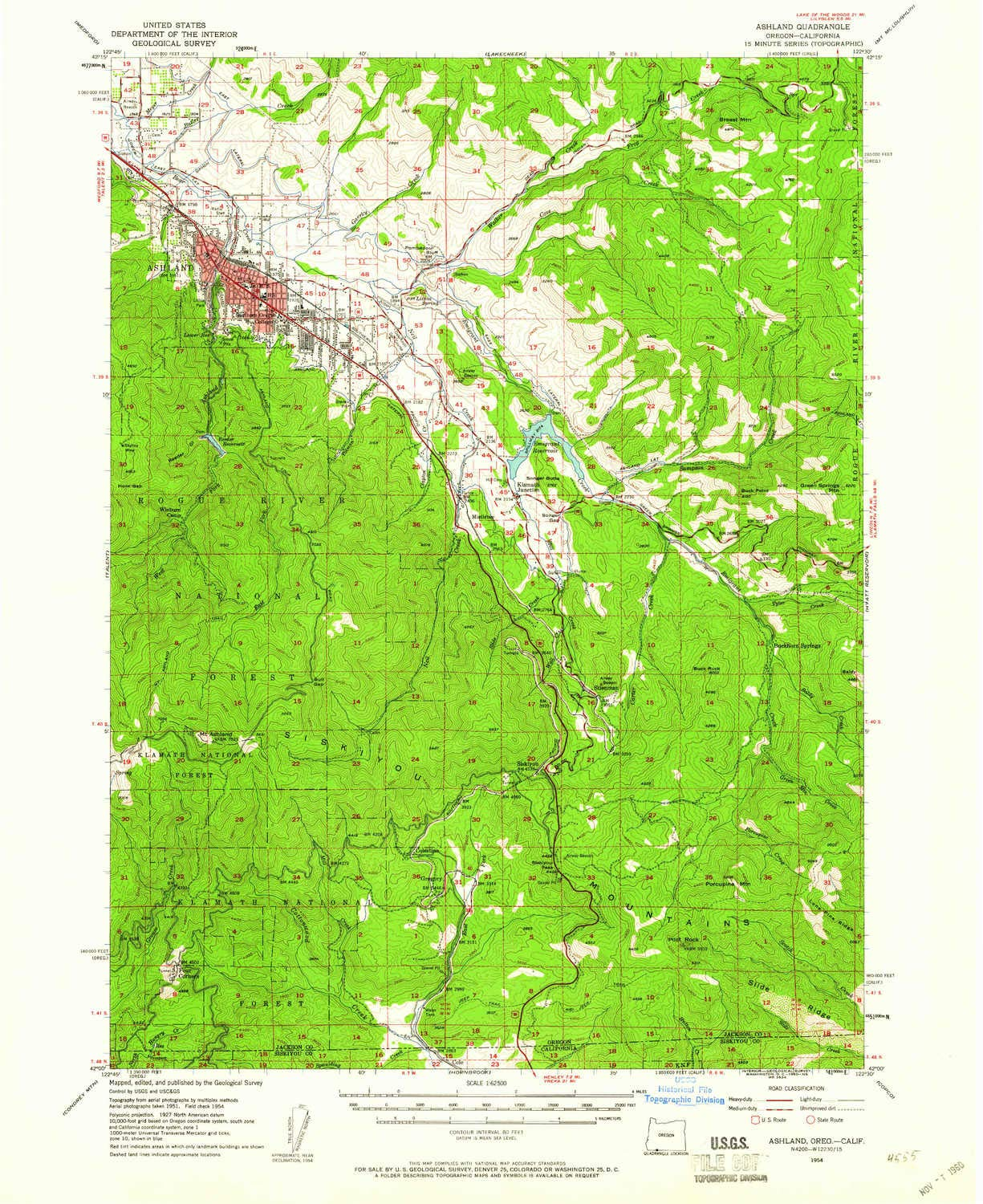 YellowMaps Ashland OR topo map, 1:62500 Scale, 15 X 15 Minute, Historical, 1954, Updated 1960, 20.8 x 17 in - Polypropylene by YellowMaps