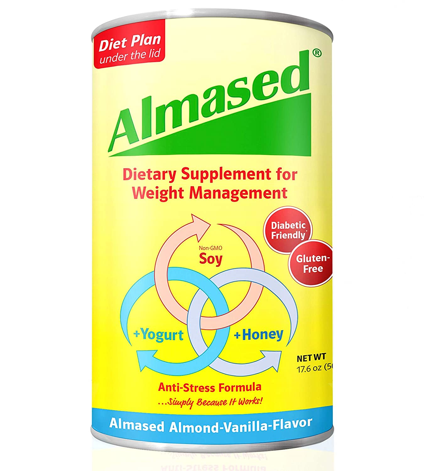 Almased Meal Replacement shakes – Gluten-Free, non-GMO Weight management Powder – Boost High Protein, Vanilla Flavor, 17.6 oz (1 Pack)