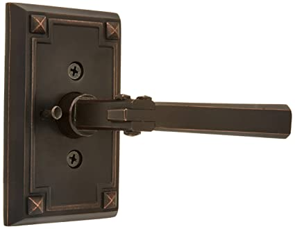 Craftsman Style Lever Door Set With Rectangular Rosettes Left Hand Privacy  In Oil Rubbed Bronze.