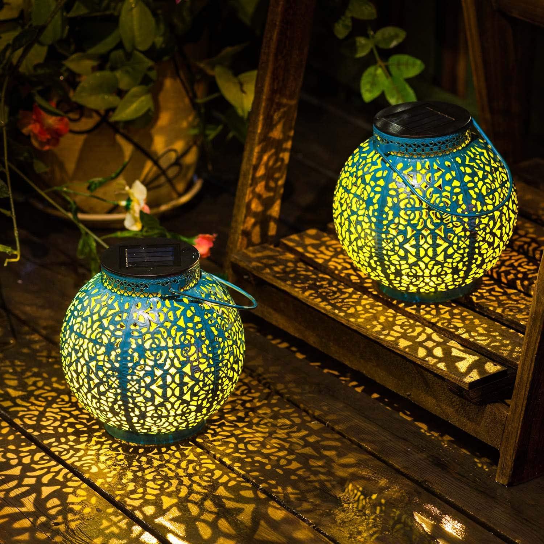 [Set of 2] TAKE ME Solar Lantern Lights Outdoor,Garden Hanging Lights Metal Retro Lights Lamp for Patio,Outside or Table (Blue)