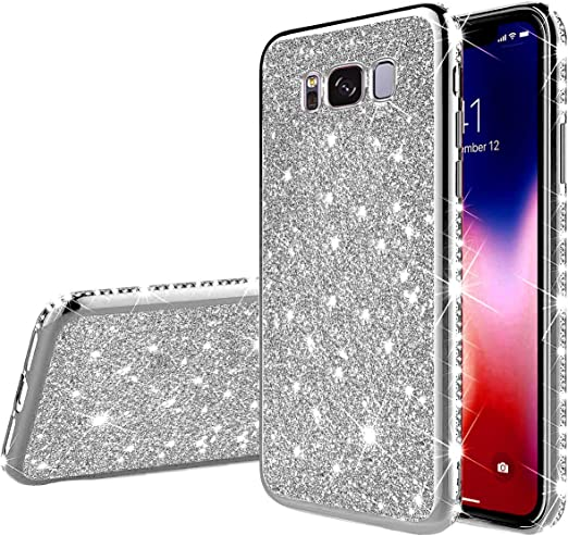 PHEZEN for Samsung Galaxy S8 Case Bling Glitter Clear Sparkle Case for Women Girls,Shiny Star Slim Soft Silicone Gel TPU Rubber Bumper Phone Case Cover with Ring Kickstand for Samsung S8,Black