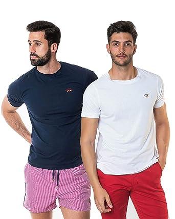 SPAGNOLO PAUL & ESTHER Pack 2 Camisetas Basicas 1305 (2XL): Amazon ...