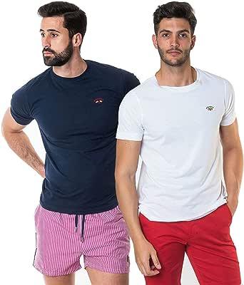 SPAGNOLO PAUL & ESTHER Pack 2 Camisetas Basicas 1305: Amazon.es ...