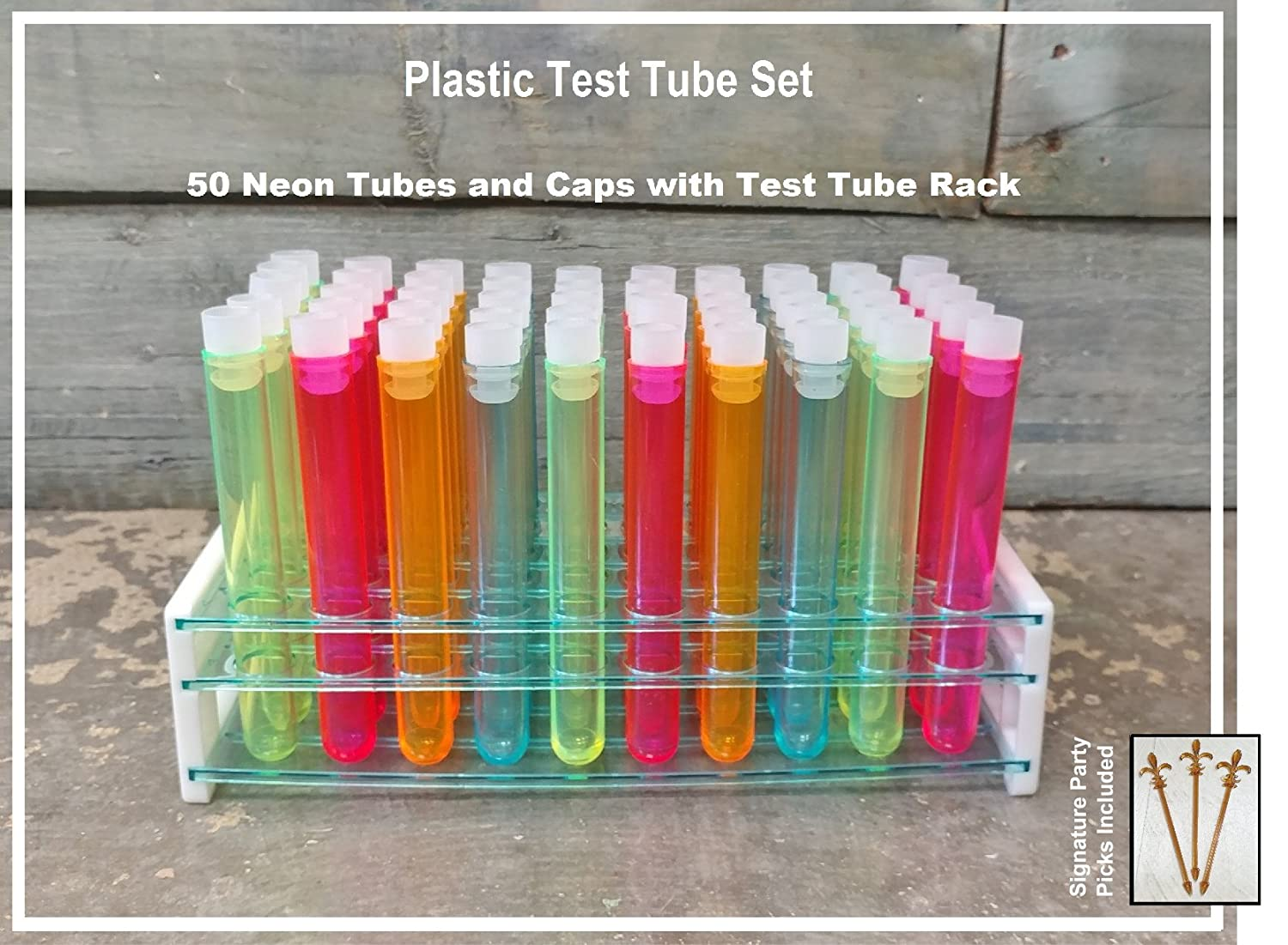 "Test Tube Party Pack, 50-Hole Rack with Assorted Color 5"" Plastic Test Tubes and Caps w/Bonus FDL Picks"