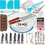 70 Pcs Cake Decorating Equipment -Turntable-Rotating Cake stand-24 Numbered Easy to use Icing Tips with Pattern Chart and E.Book-Straight and Angled Spatula-3 Cake Scrapers
