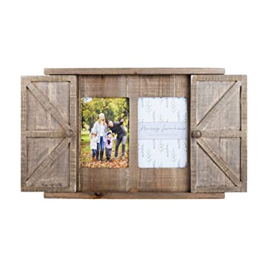Paris Loft Multi Wood Barn Door Picture Frame, 2 Openings Rustic Wall Photo Frame