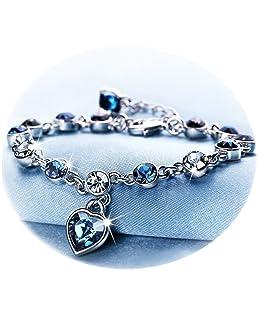 Love Heart Ocean Blue Crystal Bracelet for Women and Teens Sapphire Birthstone Charm Eternal Love Bangle (Blue crystal bracelet)