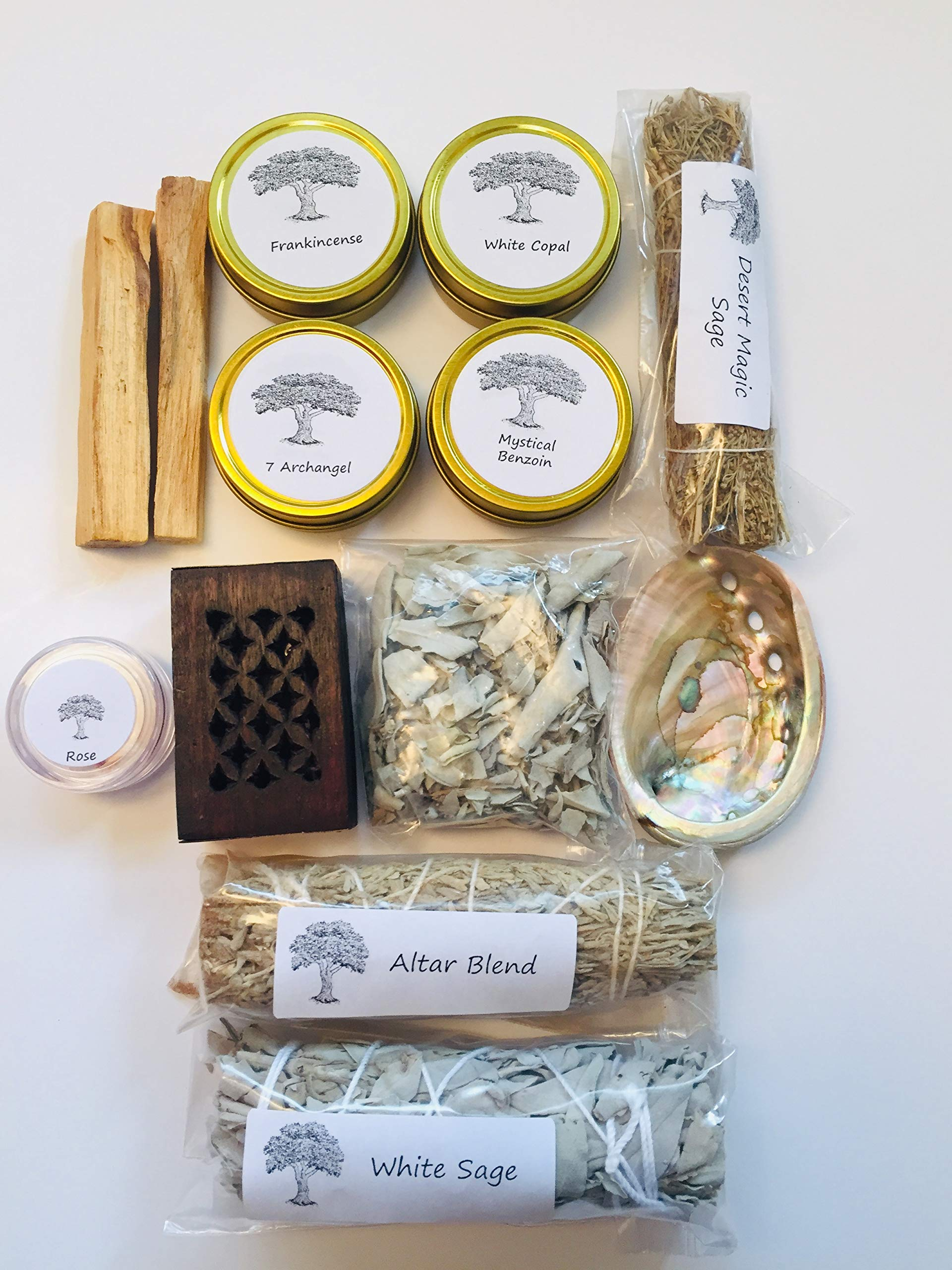 Resin Incense and Sage Smudges Variety Gift Kit includes, Amber Resin, Rose Resin, White Copal, Mystical Benzoin, Frankincense, White Sage Smudge, Desert Sage, Palo Santo Sticks and Abalone Shell by Sacred Scents For You (Image #3)