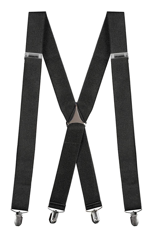 "Buyless Fashion Mens 48'' Elastic Adjustable 1 1/4"" Suspenders In X Shape – Black"