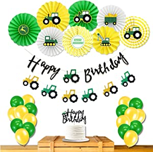 Homond Green Tractor Party Supplies, Tractor Birthday Decorations, Farm Green Tractor Happy Birthday Banner, Farm Tractor Theme Party Decorations for Girls Boys Kids 1st 2nd 3rd 4th Birthday.