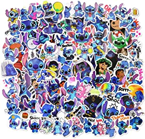 Lilo and Stitc_h Stickers 100pcs Disne_y Cartoon Vinyl Waterproof Stickers for Water Bottles Hydroflasks Laptop Computer Decal Stickers for Adults Teens Girls