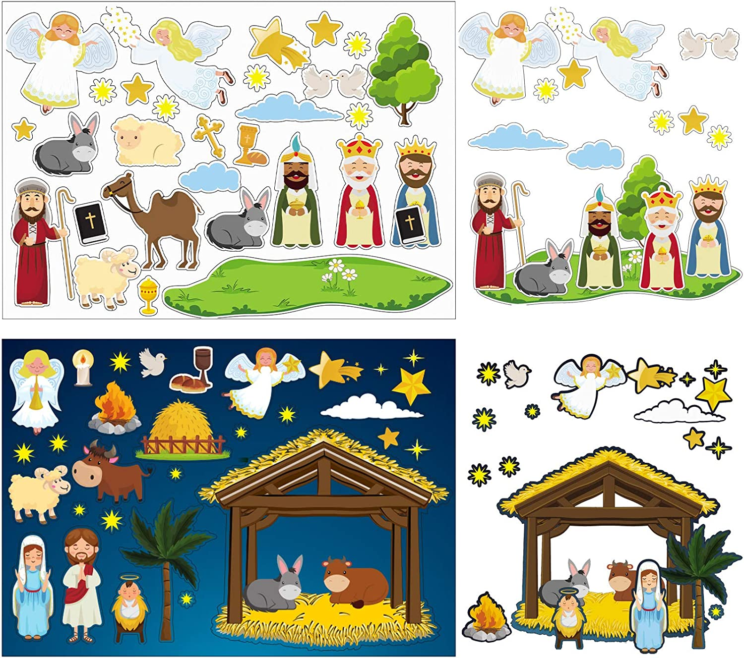 Outus 30 Sheets Make a Nativity Scene Stickers Assorted Christmas Mix and Match Stickers Nativity Scene Party Game for Birthday Party Supplies Xmas Decoration
