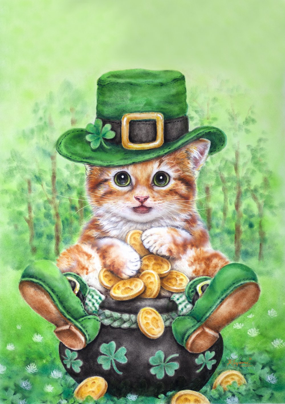 Toland Home Garden Clover Kitty 12.5 x 18 Inch Decorative Cute Shamrock Tabby Leprechaun Cat St Patrick's Day Garden Flag