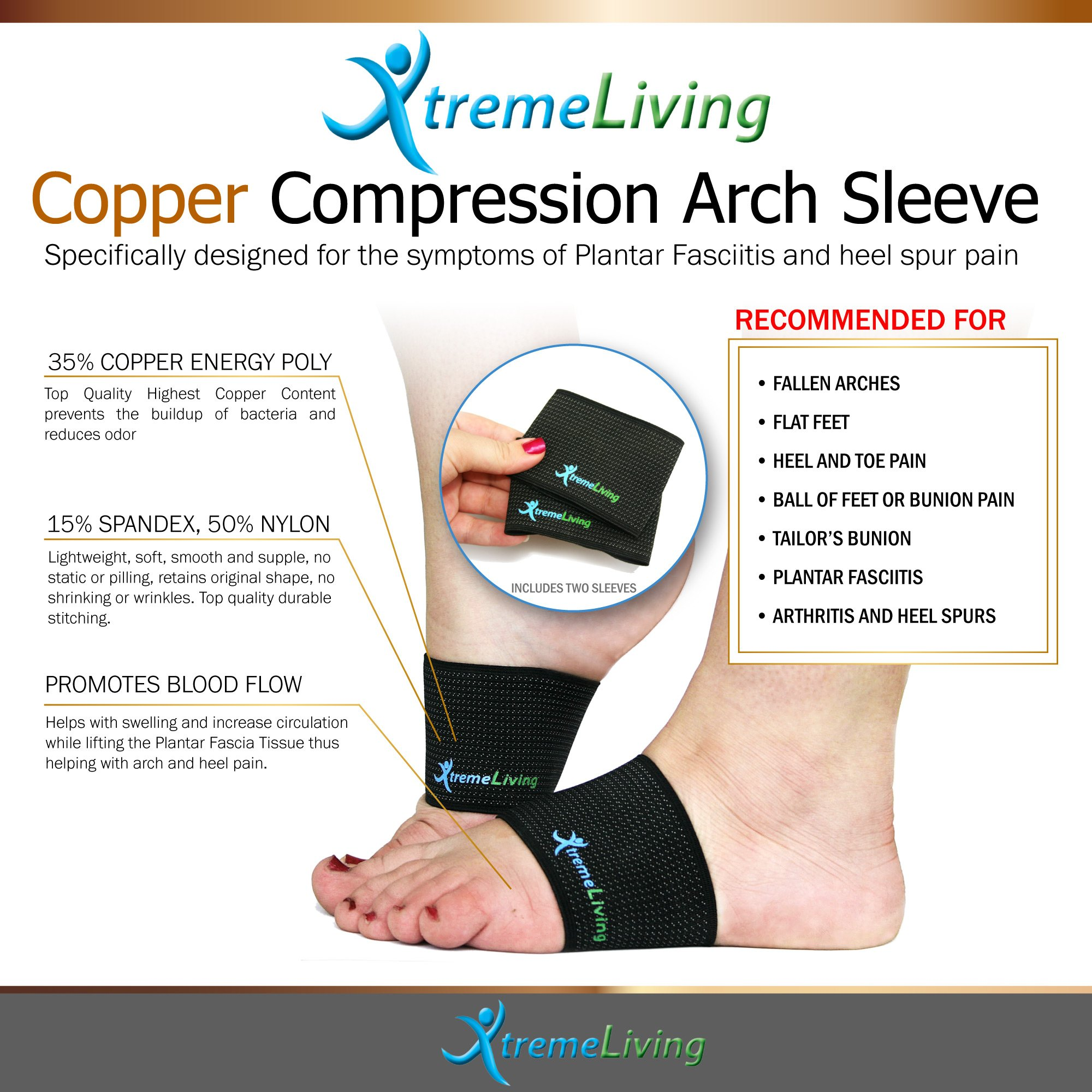 Plantar Fasciitis Compression Arch Support, 2 Arch Sleeves, 2 Gel Heel Sleeves, Massage Ball, 5pc Set by Xtreme Living (Image #2)