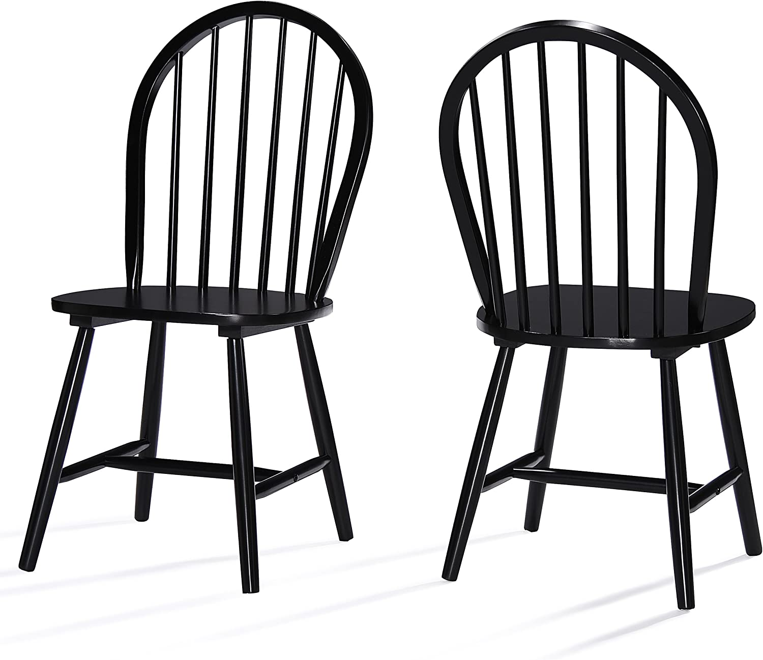 Amazon Com Christopher Knight Home 302241 Declan Farmhouse Cottage High Back Spindled Rubberwood Dining Chairs 2 Pcs Set Black Chairs
