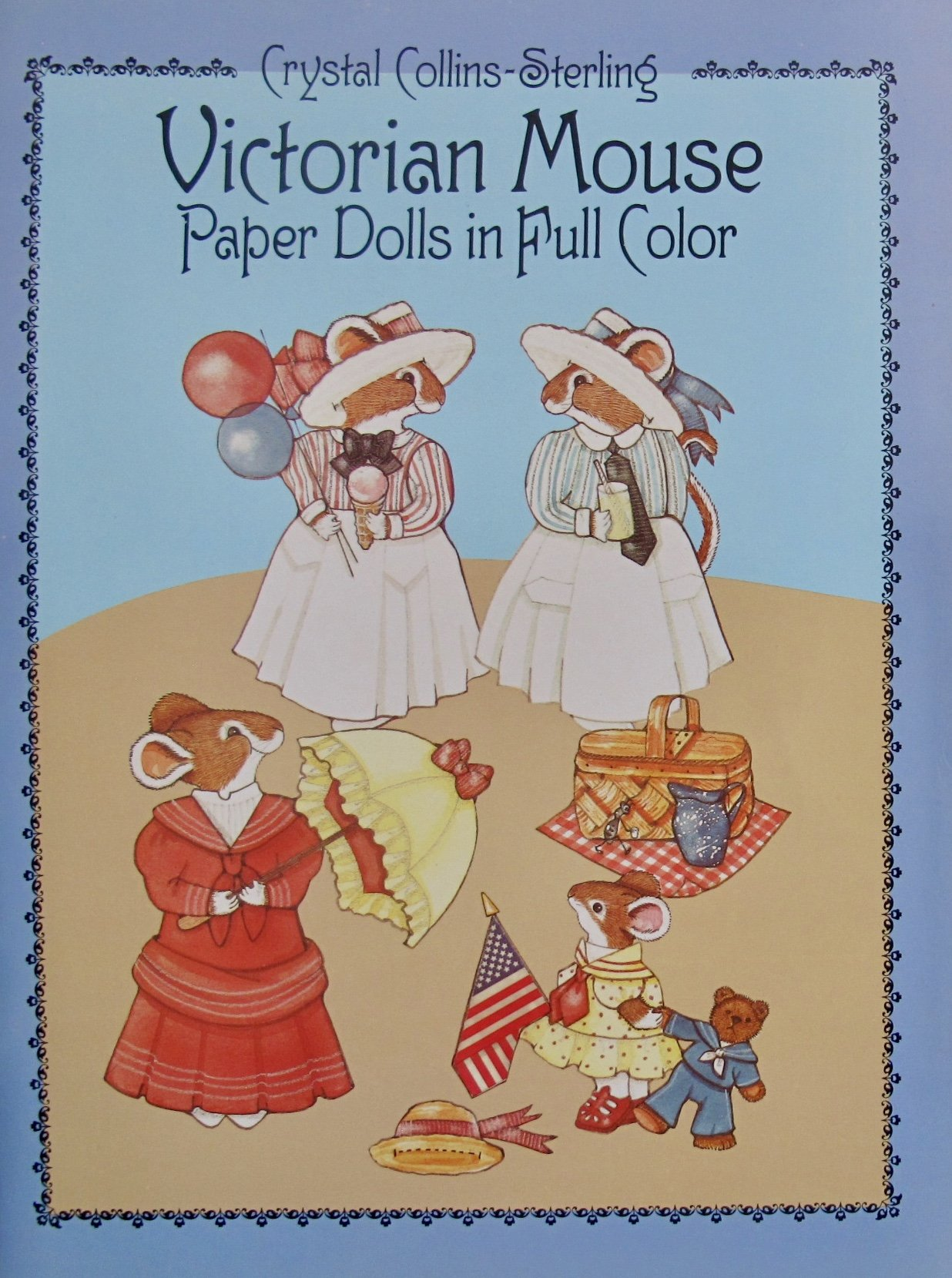 Dover VICTORIAN MOUSE PAPER DOLLS Book (UNCUT) in Full COLOR w 4 Card Stock DOLLS & COSTUMES & Accessories by Crystal Collins-Sterling (1986)