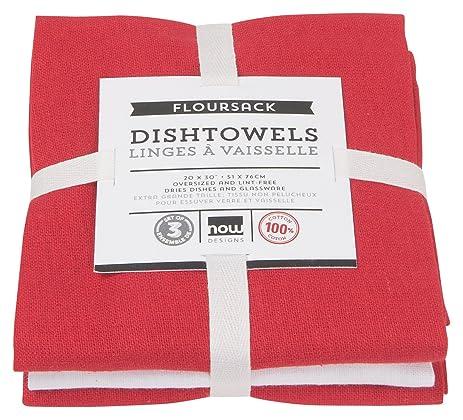 Now Designs Floursack Kitchen Towels, Set Of Three, Red/White