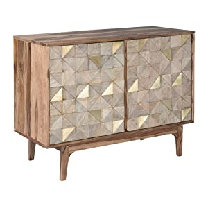 Ashley Furniture Signature Design - Carolmore Storage Console Table - Contemporary - 2 Touch-Latch Doors - Brown/Gold
