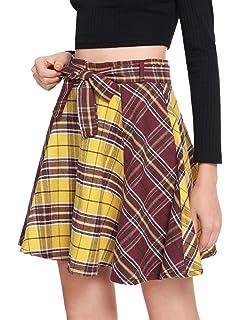 4eda992618 Milumia Women Plaid Mini Skater A line Skirt Belted Zipper Pleated Business  Casual Dress