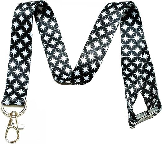 Black /& White Chevron Neck Lanyard with Key ring for ID Badge holder