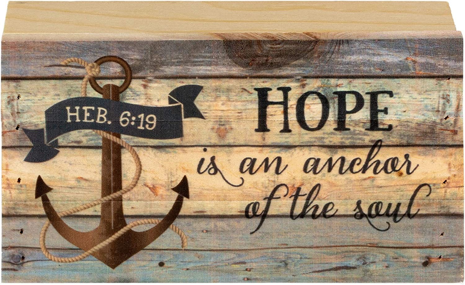 P. Graham Dunn Hope is an Anchor of The Soul Hebrews 6:19 5 x 8 Wood Block-Style Wall Art Sign Plaque