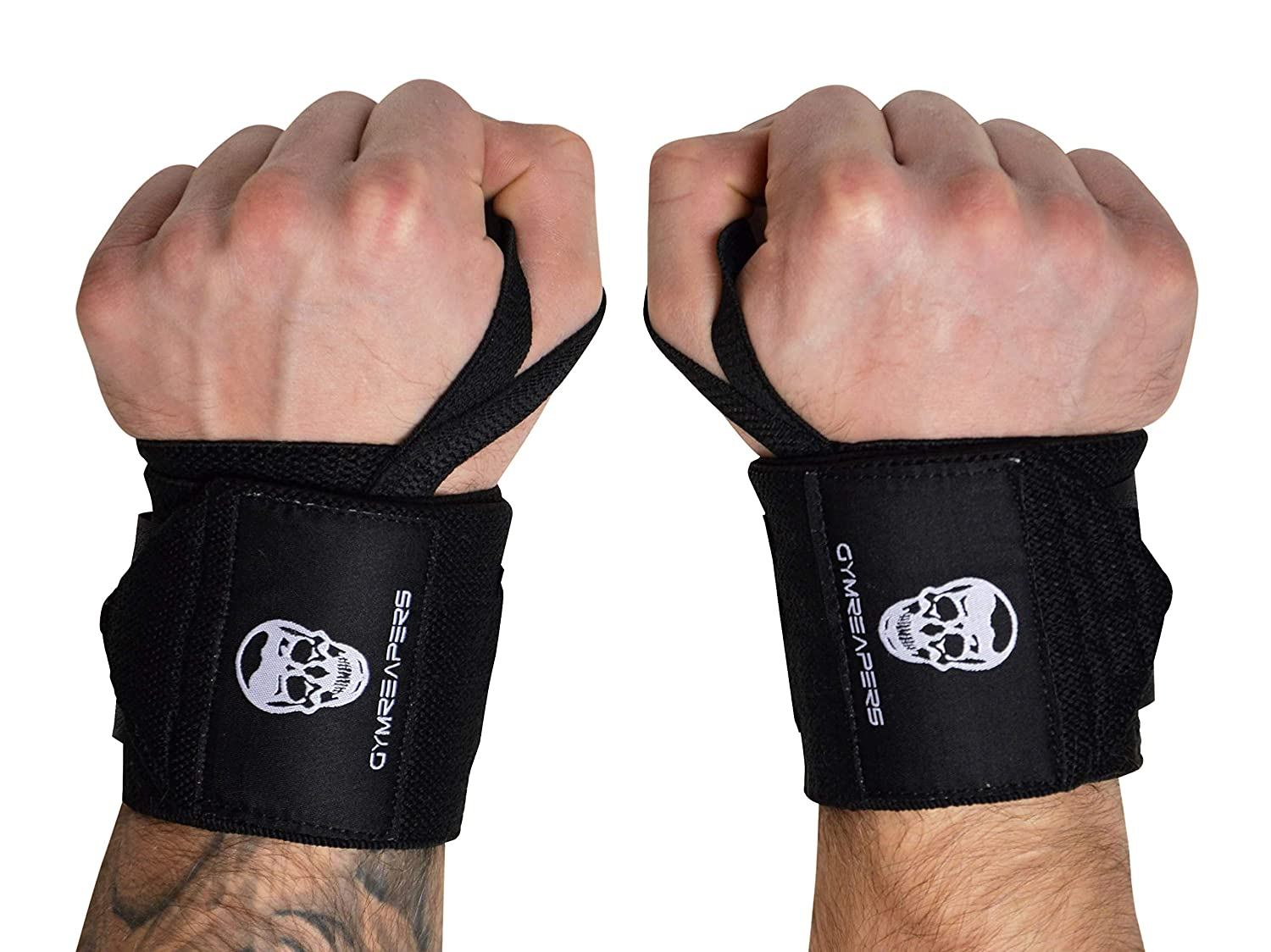 Black 18\ Weightlifting Wrist Wraps (Competition Grade)  18  Professional Quality Wrist Support with Heavy Duty Thumb Loop  Best Wrap for Powerlifting, Strength Training, Bodybuilding